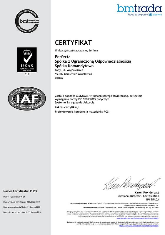 Certyfikat ISO - perfectaoffice.com